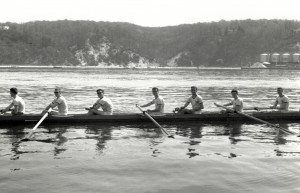 Stony Brook crew, 1962, rowing in Port Jefferson Harbor
