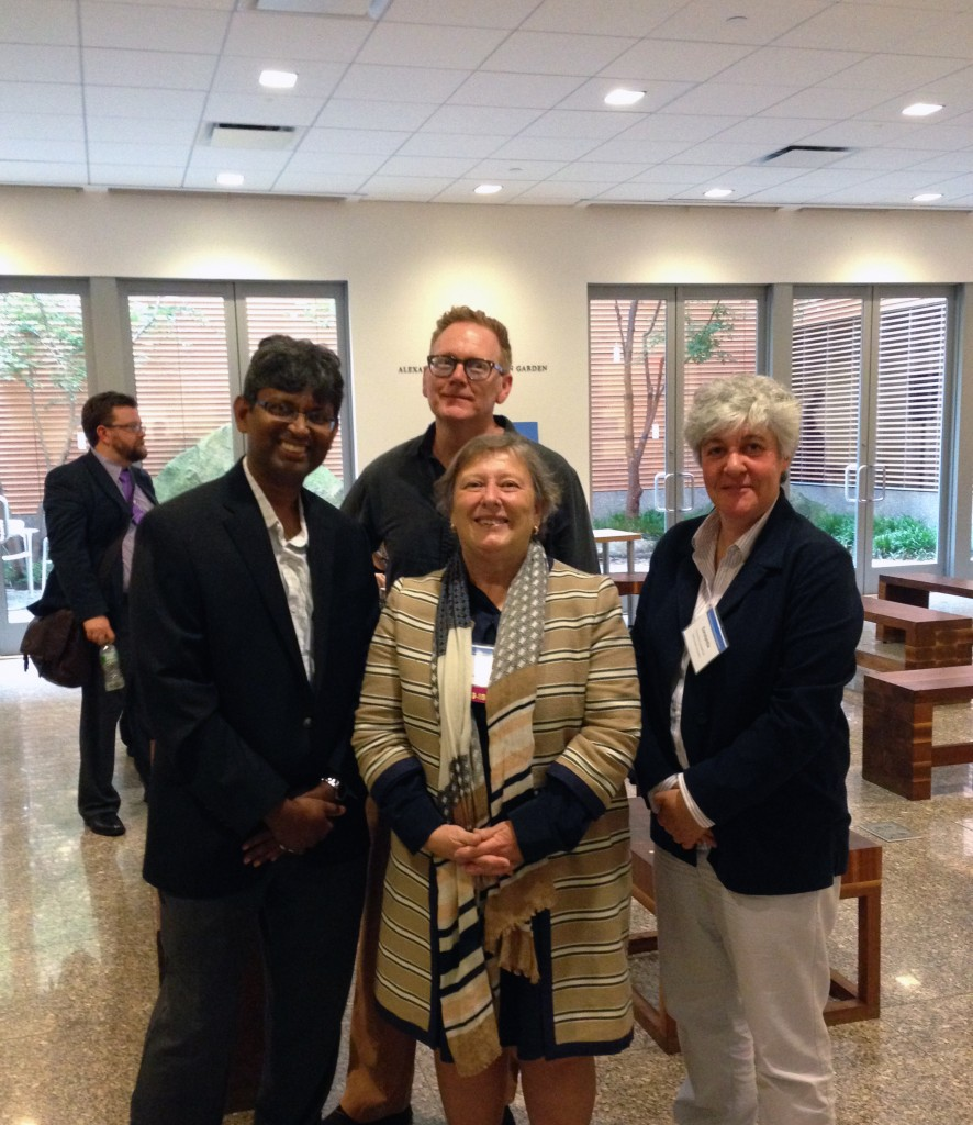 pictured l to r: Shafeek Fazal; Darren Chase,;Sarah E. Thomas, Vice President for the Harvard Library and Roy E. Larsen Librarian for the Faculty of Arts and Sciences, Harvard University; Constantia Constantinou