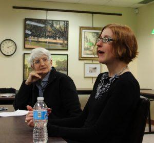Sue Bottigheimer (l) and Celia Marshik (r), Writers Series, March 2016