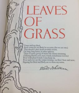 Page 1: Whitman, Walt, and Valenti Angelo. Leaves of Grass. New York: Random House, 1930.