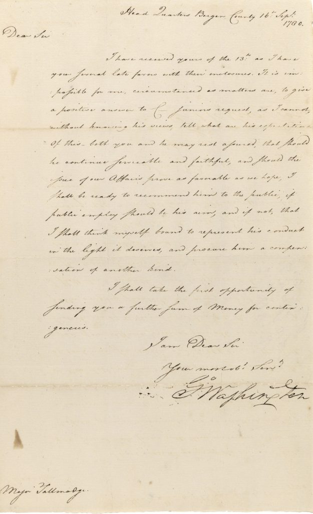Spy Letter, George Washington to Benjamin Tallmadge, September 16, 1780. Special Collections, SBU Libraries.