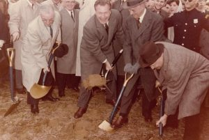 Groundbreaking at SBU, April 6, 1960. Pictured left to right: Frank C. Moore (Chairman, SUNY Board of Trustees) Governor Nelson Rockefeller Ward Melville J. Burch McMorran