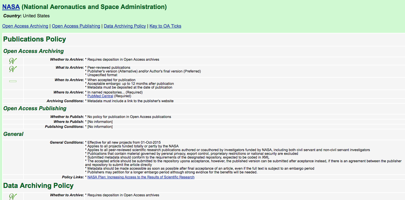 NASA-funded research Open Access policies