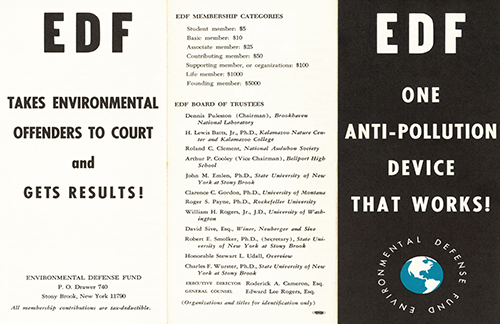 Flyer from the Environmental Defense Fund Archive, circa 1970.
