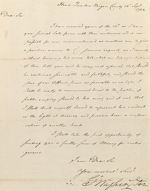 Letter, George Washington to Benjamin Tallmadge. September 16, 1780.