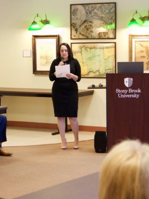 Kate Kasten introduces Dr. Zebulon Vance Miletsky, who gave a lecture in honor of Black History Month.
