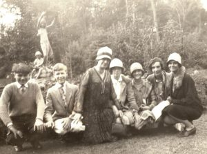 Mary Fletcher and students at the Theodore Roosevelt Sanctuary, Oyster Bay, c. 1925-1926. Mary Fletcher is on the far right.