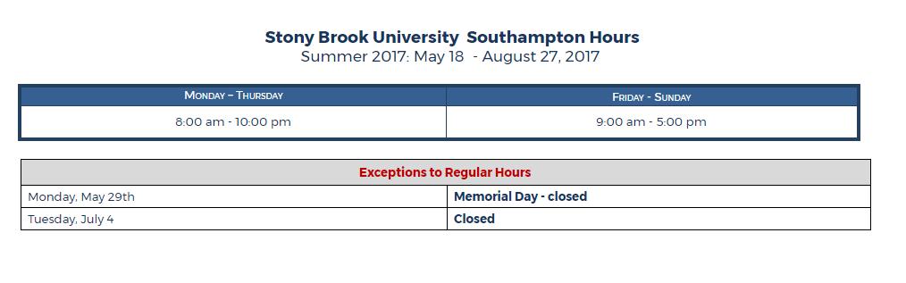 southampton summer hours