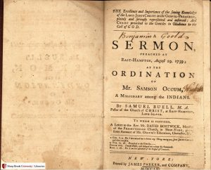 "Samuel Buell's ""...A Sermon Preached at East-Hampton, August 29, 1759: at the Ordination of Mr. Samson Occum, a Missionary Among the Indians,"" 1761"