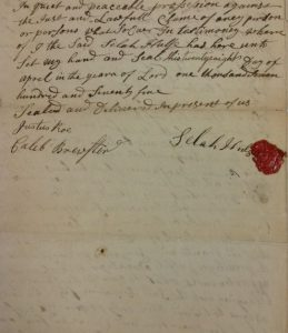 Brookhaven Land Deed signed by Selah Hulse, Caleb Brewster, and Justus Roe on April 28, 1775.