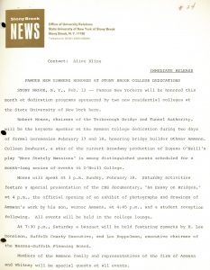 SBU press release announcing the dedications of Ammann and O'Neill Colleges (dormitories), February 1968.