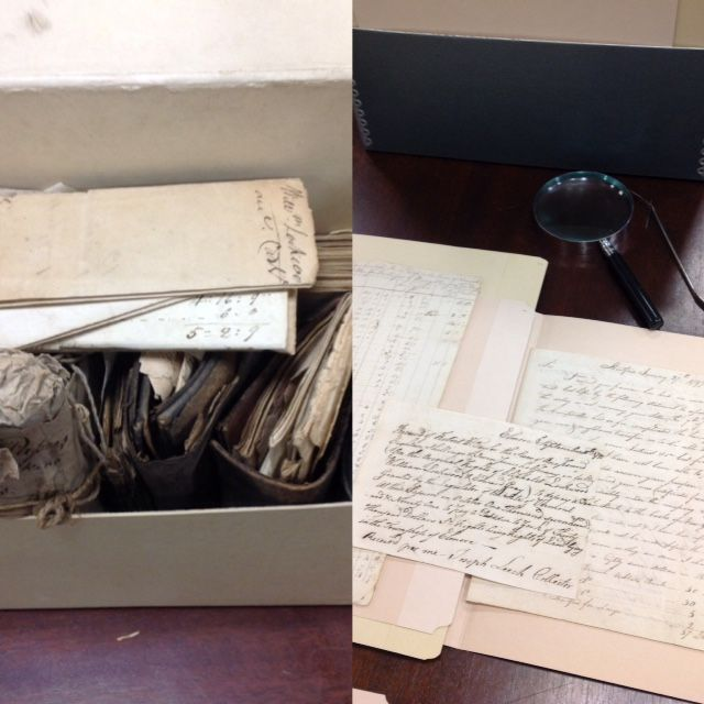 Lockwood family papers. Before treatment (left) and after (right). Special Collections, Stony Brook University Libraries.