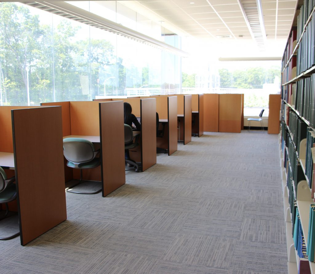study carrels in Health Sciences Library