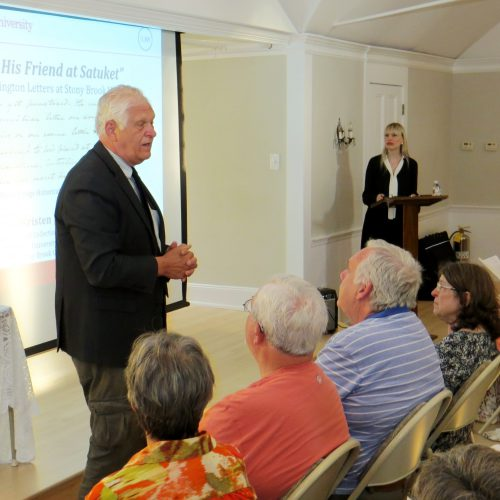Assemblyman Steven Englebright. Washington lecture and letter viewing, Neighborhood House, Setauket, July 16, 2018. Photo credit: Beverly C. Tyler.