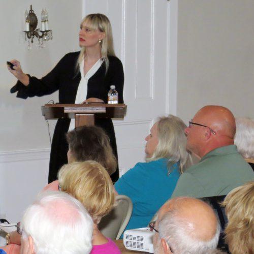 Kristen J. Nyitray. Washington lecture and letter viewing, Neighborhood House, Setauket, July 16, 2018. Photo credit: Beverly C. Tyler.