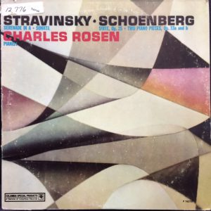 Image of STRAVINSKY, IGOR.  SERENADE IN A ; SONATA FOR PIANO (1924).  SCHOENBERG, ARNOLD.  KLAVIERSTUCK, OP. 33A AND 33b ; SUITE FUR KLAVIER, OP. 25.  CHARLES ROSEN, PIANO.  NEW YORK : COLUMBIA, 1969