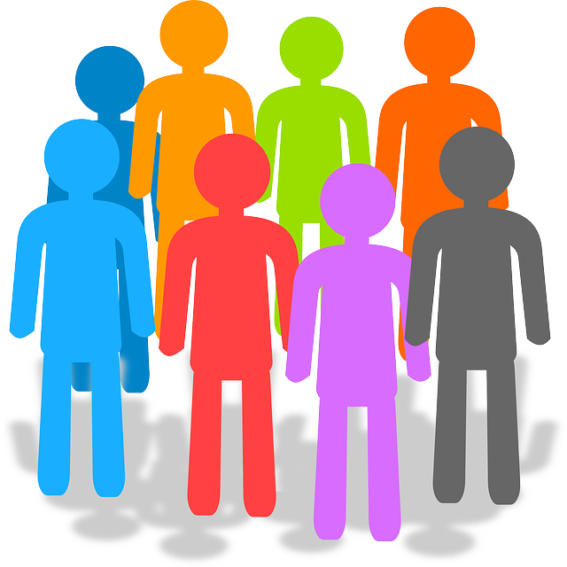 multicolored stick figures in a group