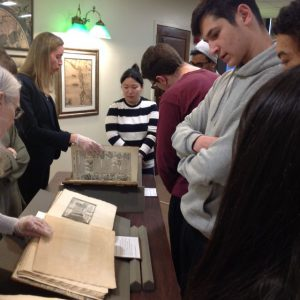 ARH 204 students visit Special Collections, SBU Libraries, February 2019.