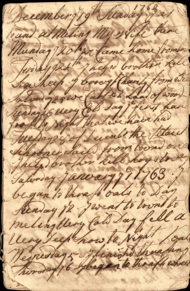 Page from the diary of Ebenzer Miller, 1762-1768. From the Samuel Hopkins Miller Collection, Special Collections, SBU Libraries.