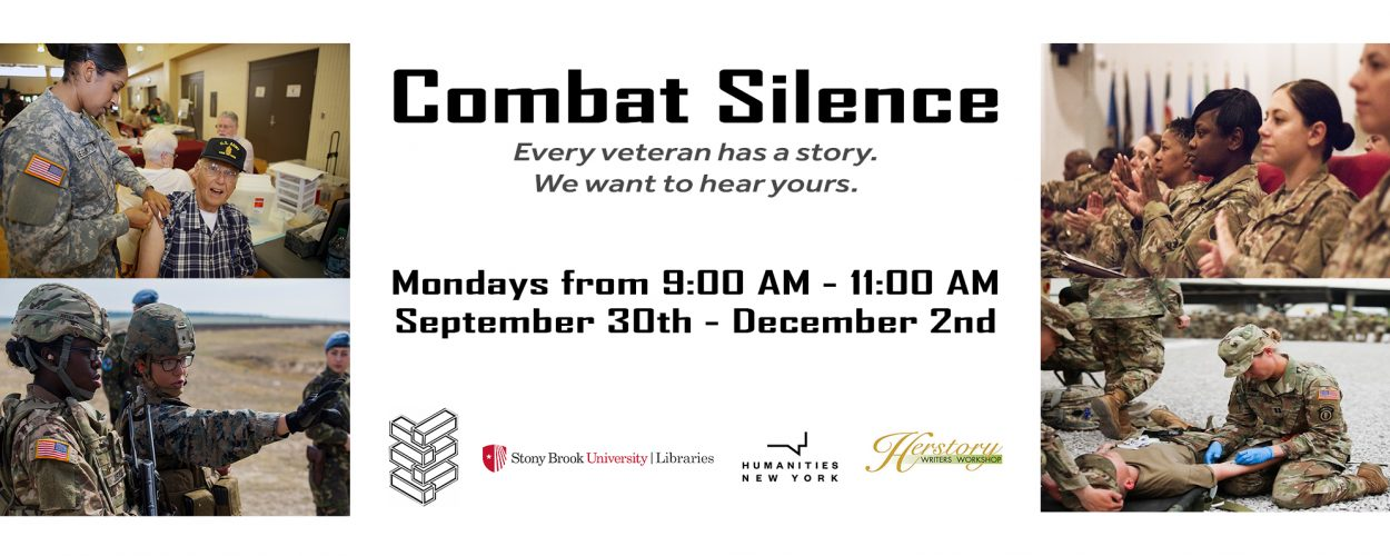 Banner for Combat Silence program, Mondays from 9:00am-11:00am, September 30th to December 2nd