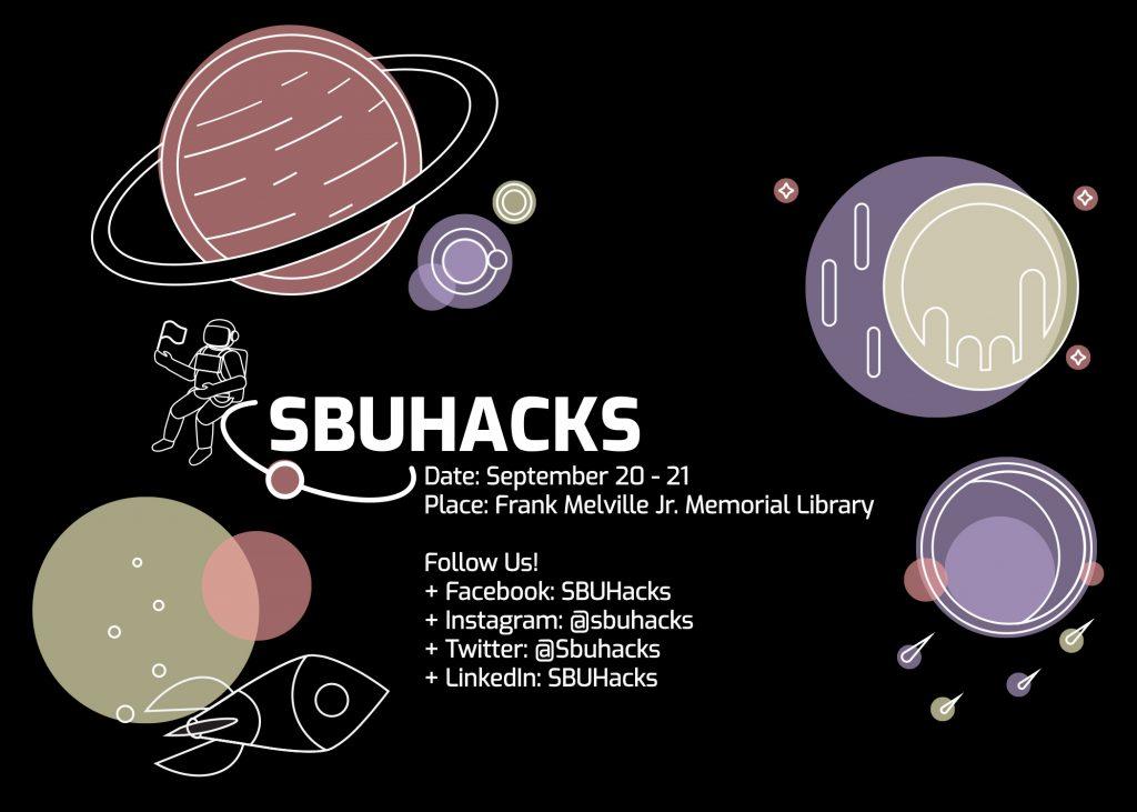 Graphic promoting SBUHacks event