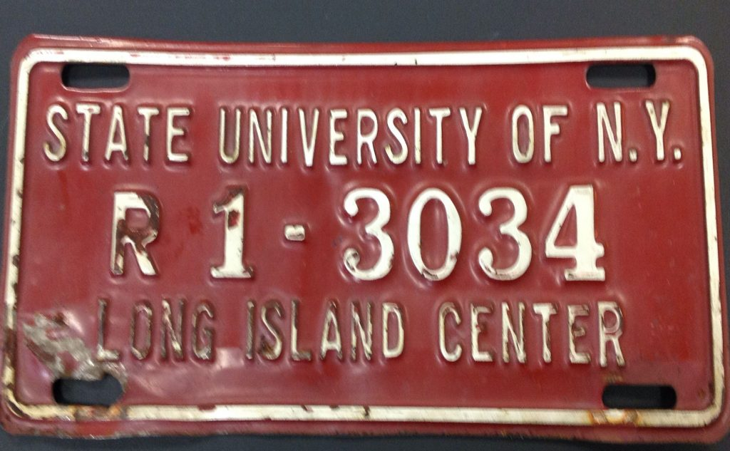 License plate, State University of New York, Long Island Center, c1958.