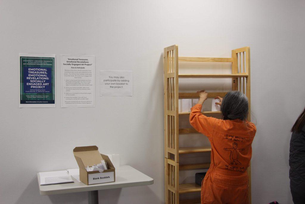 Prof. Nagasawa with tall display bookshelf