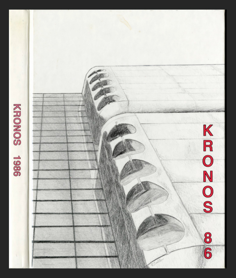 This image shows the cover of the Kronos yearbook from 1986. A pencil drawing of the corner of one of the health science buildings displaying the science fiction type architecture in which the name Kronos is derived.