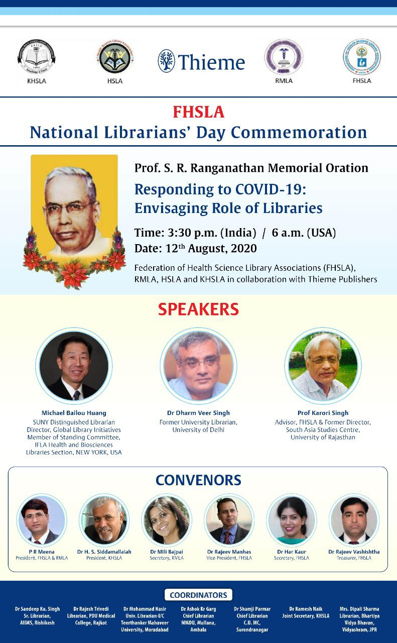 Poster for National Librarians' Day Commemoration event featuring image of Michael Bailou Huang