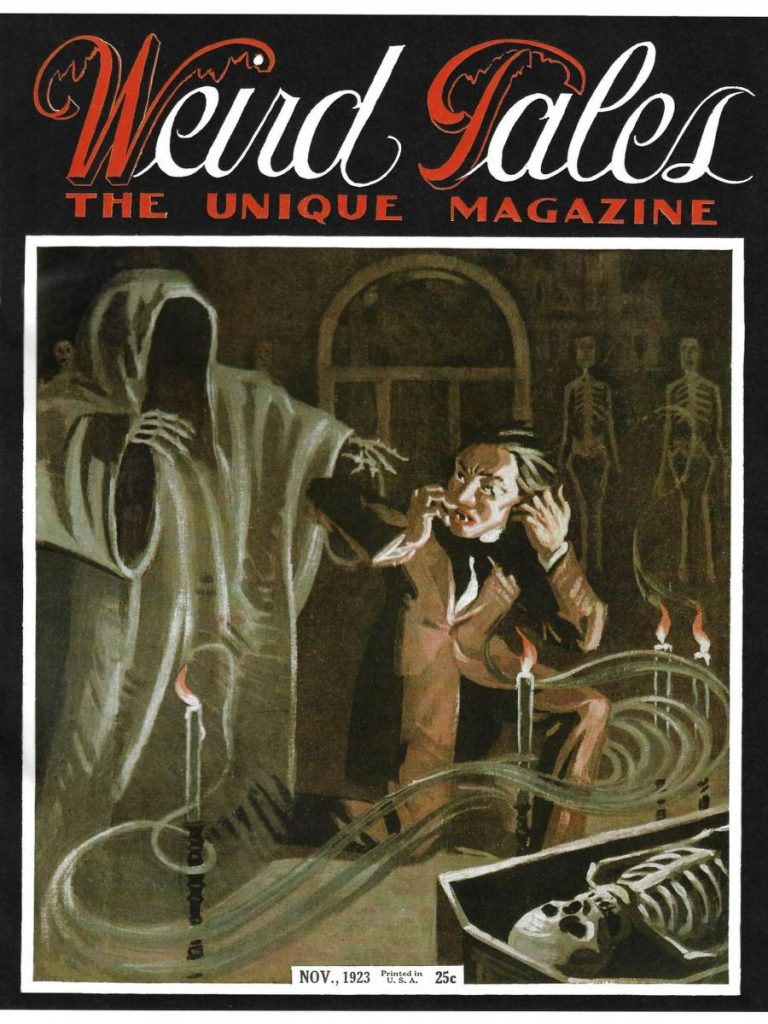 The cover of Weird Tales magazine from November, 1923.