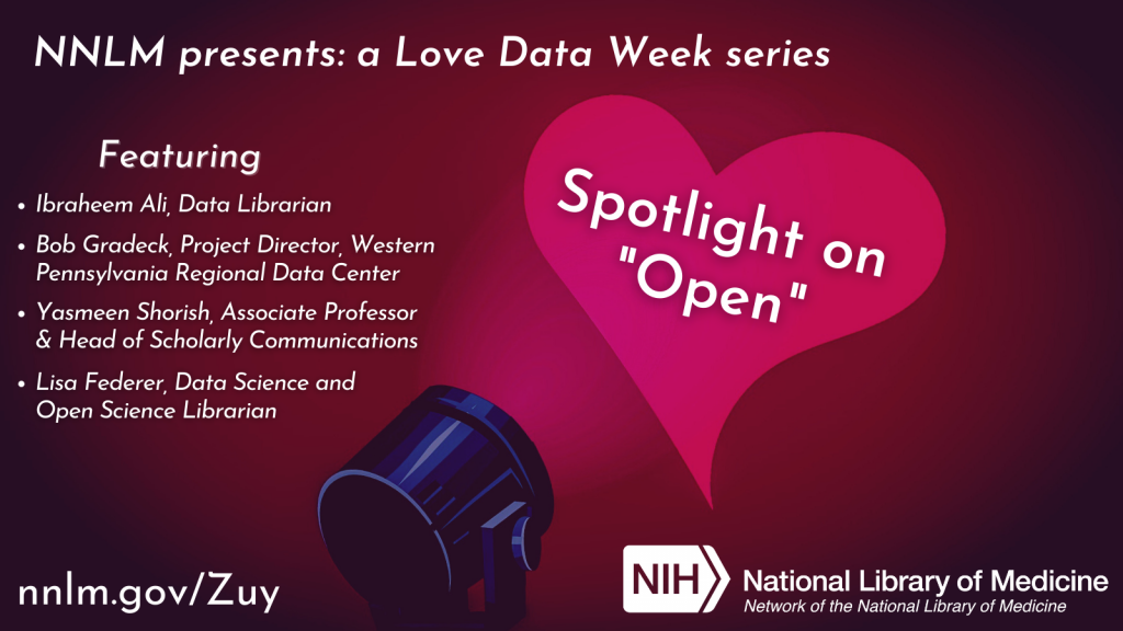 "Flyer containing information about several speakers for ""Love Data Week."""