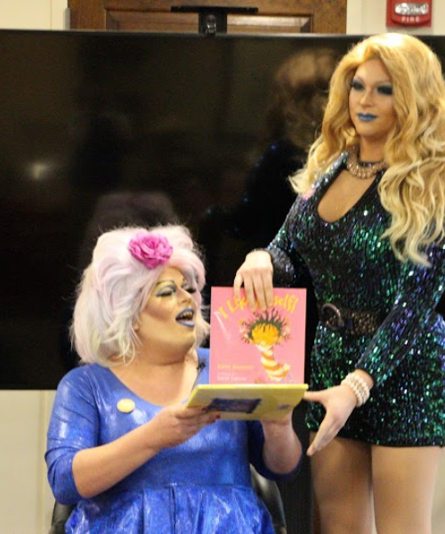 Drag queens getting ready to read a story