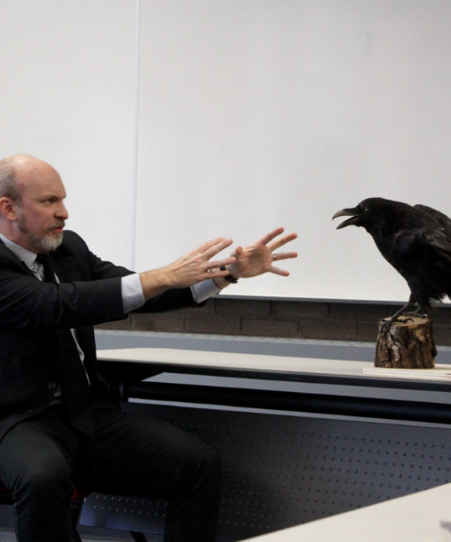 Man putting his hands out toward the crow