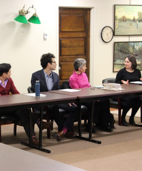 Library staff and faculty with Interim President Bernstein in Center for Digital Humanities