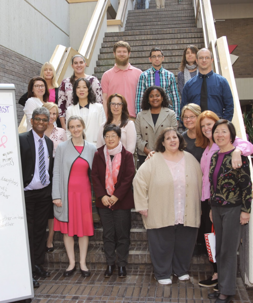 Library staff group photo for breast cancer awareness day